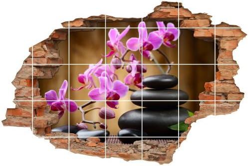 Fliesenaufkleber Fliesenbild Fliesendekor Wanddurchbruch Wellness Orchidee Steine Meditation 15x15cm BxH 75x50cm
