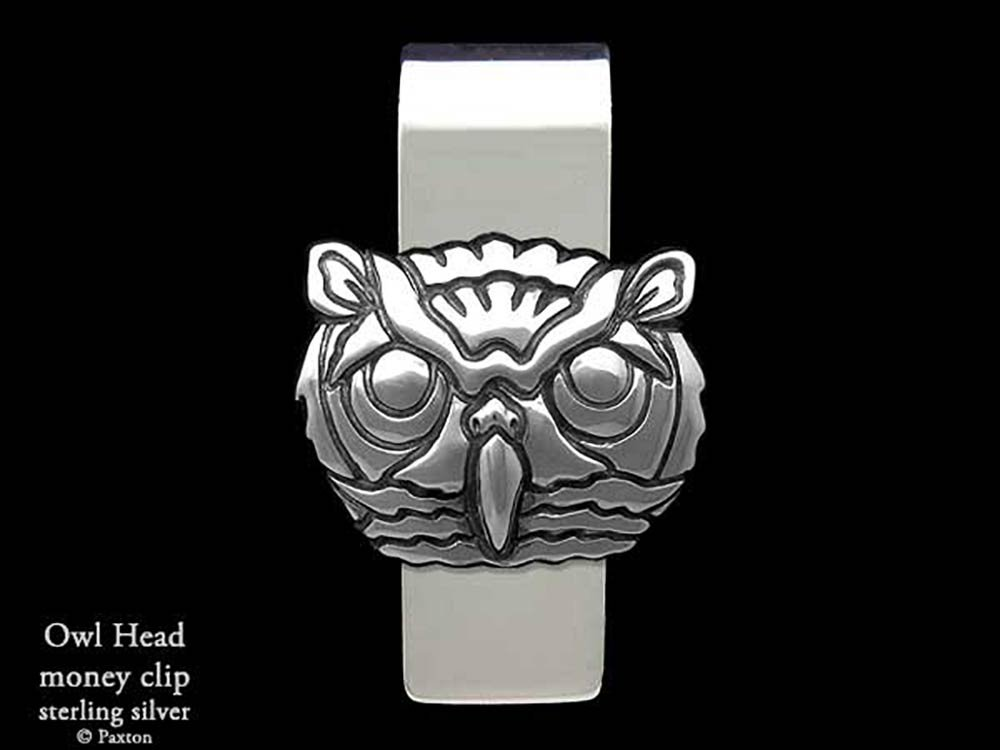 Owl Head Money Clip in Solid Sterling Silver Hand Carved, Cast & Fabricated by Paxton