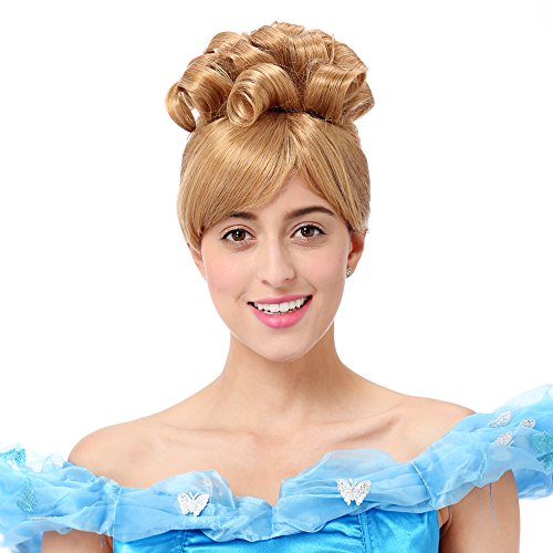 STfantasy Cinderella Wig Short Curly Princess Cinderella Cosplay Anime Costume Party Synthetic Hair for Women+Cap (14