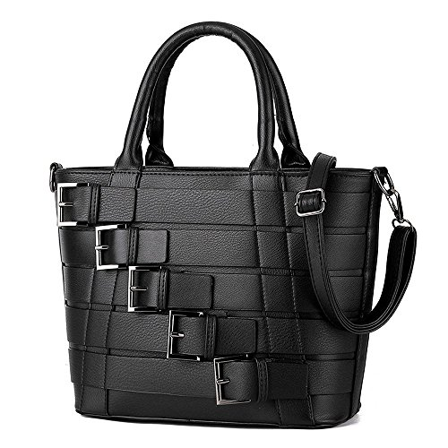 Belted Shopper Handbag (Mn&Sue Stylish Multi-belted Pebbled Pu Leather Top Handle Zipper Bucket Handbag Shoulder Tote Lady Purse (Black))