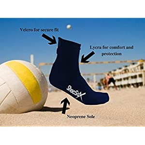 SALE! Best Elite Sand-Beach Socks For Volleyball, Soccer, Tennis, Ultimate, Yoga, Lacrosse, Running, Training, and Snorkeling. Velcro Close Top Fits All Feet For All Sand Sports Socks (Black, Large)