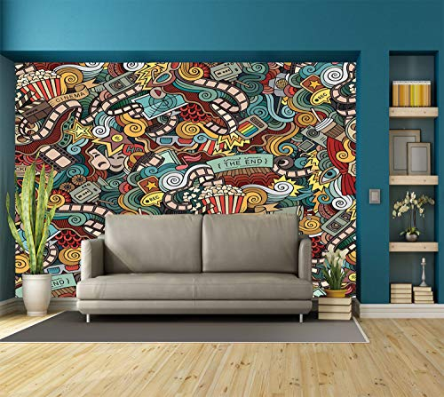 Large Wall Mural Sticker [ Doodle,Cinema Items Combined in an Abstract Style Popcorn Movie Reel The End Theatre Masks Decorative,Multicolor ] Self-adhesive Vinyl Wallpaper / Removable Modern Decoratin