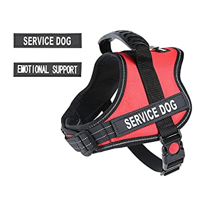"""PawShoppie Real Reflective Service Dog Vest Harness with 2 Free Removable """"SERVICE DOG"""" and 2 """"EMOTIONAL SUPPORT'' Patches, Woven Polyester & Nylon, Comfy Soft Padding(Red)"""