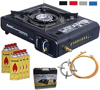 2 in1 Hornillo de gas camping hervidor con 8 cartuchos de gas 2,3 kW + cocina de gas Cruz + Gas Manguera + Maletín (Color Negro, Rojo, Azul o gris)