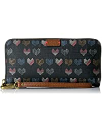 Fossil Emma Rfid Large Zip Wallet-Hearts