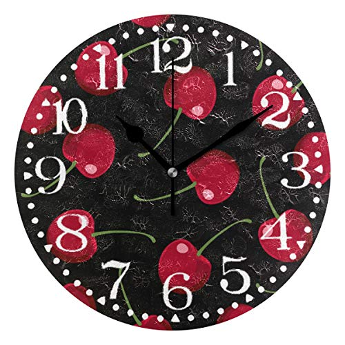 Cherry Atomic Wall Clock - Shadimi - Red Cherry Fruit Round Acrylic Wall Clock Silent Non Ticking 10 Inch