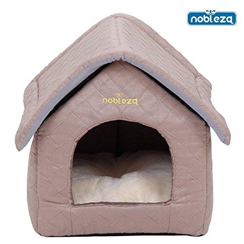 Nobleza - Casa para perros acolchada, color marrón claro con tejado a dos aguas. Medidas: largo: 47 cm x ancho 39 cm x alto 42 cm