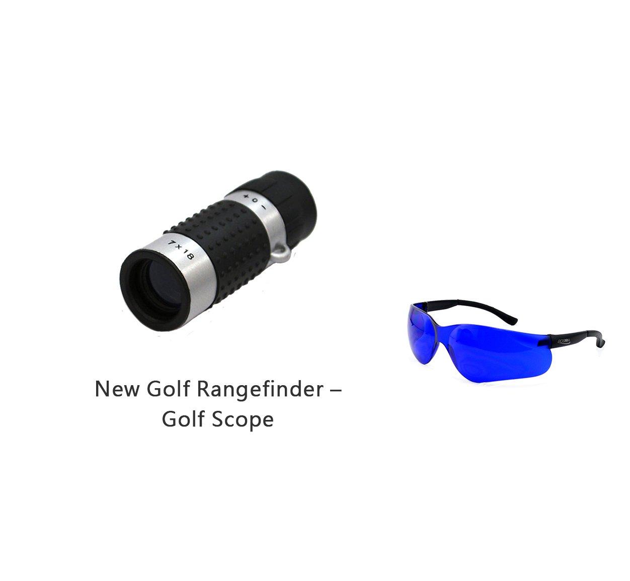 Posma GF100C Bundle set Golf Rangefinder High Definition Mini Monocular Pocket Scope + Golf Ball Finder Hunter Retriever Glasses