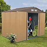9' X 6' Outdoor Garden Storage Shed Tool House Sliding Door Steel Khaki New