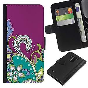 WINCASE Cuadro Funda Voltear Cuero Ranura Tarjetas TPU Carcasas Protectora Cover Case Para LG G3 - Dibujo púrpura Fractal Flores