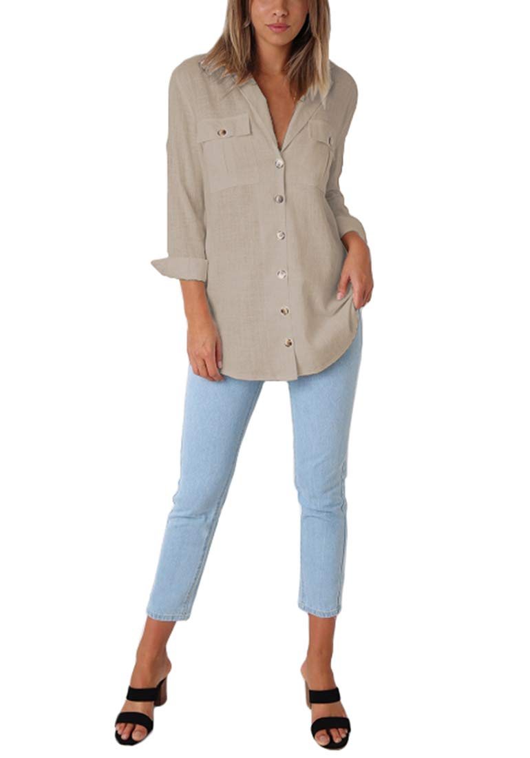 Roskiky dam blus ledig Button-Down långärmad tröja med manschett ärm V-ringad kaki