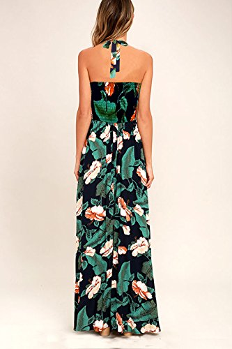Print Maxi Cross Halter Criss Jelly Floral Neck Women's Dress Tropical Backless Blooming Multicolored Sleeveless P4TUqxv