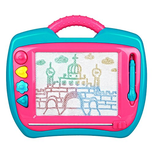 Double Doodle (Peradix Doodle Magnetic Drawing Board Sketch Scribble Tablet Education Writing Drawing Painting Colorful Erasable Toy for Toddler Kids (Blue&Pink))