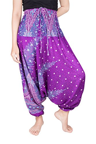 Lofbaz Women's Peacock Print 2 in 1 Harem Pants Jumpsuit Purple & Blue XL (Suit Salwar Blue)
