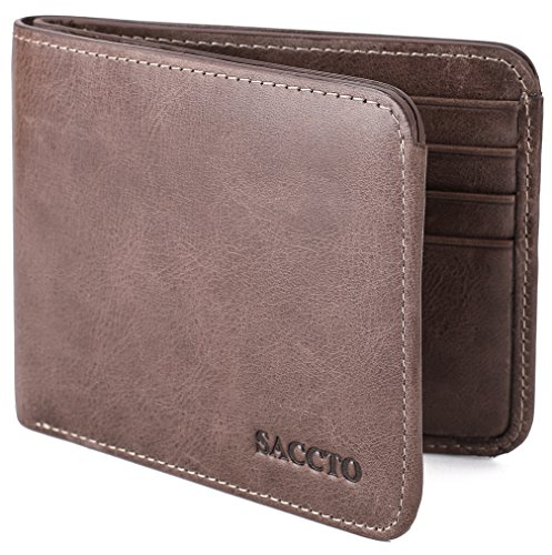 Bi Fold Coin Wallet - Mens Wallet Genuine Leather Bifold Front Pocket Wallet with ID Window Coin Pocket and RFID Blocking - Coffee