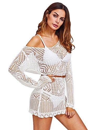 Milumia Women's Knit Crochet Lace Tassel Bikini Swimwear Beach Cover up Dress White-1 One Size -