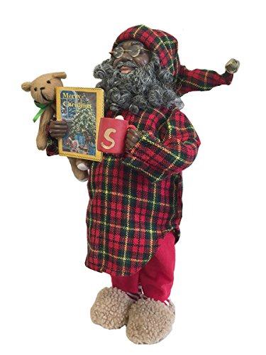 Santa's Workshop African-American Pajama Claus Figurine, (Workshop Santa Figurine)