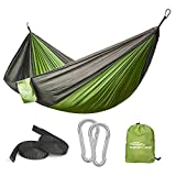 "Forbidden Road Camping Hammock / Portable Hammock / Parachute Hammock / Hammock Swing    Size & Weight Unfolding Size : 103"" x 55"" (260cm x 140cm) Packing Size : 5.1"" x 3.5""x 9""(13cm x 9cm x 23cm) Weight : 0.73 lbs (330g)    Colors Green Blue ..."