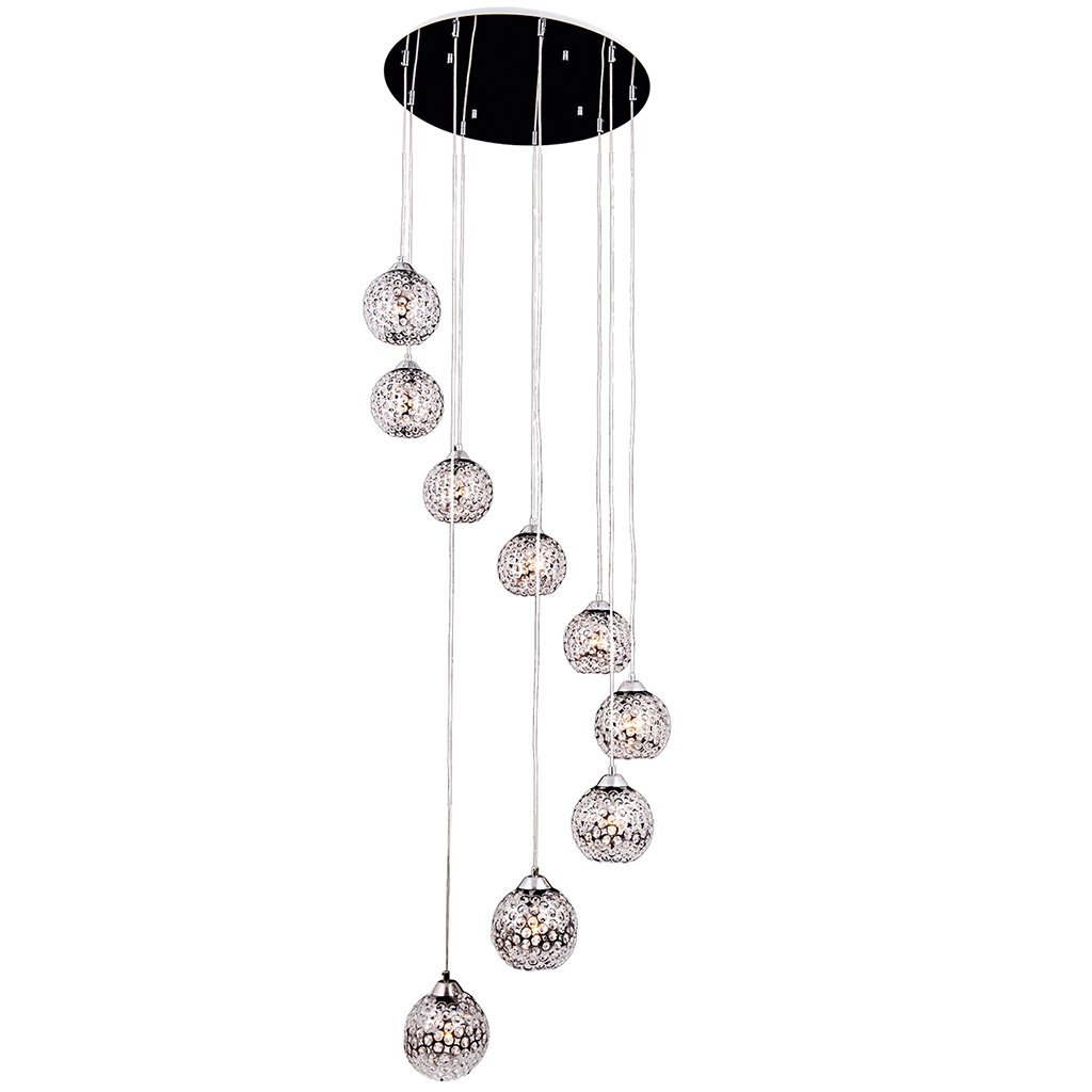 Andrea - 9 Light Crystal stone Nailed Hang Lamp (9XE27 MAX.60W) by Oktay Lighting