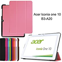 Acer Iconia One 10 B3-A20 DETUOSI ® Flip Case,Acer Iconia 10 B3-A20 Case,Folding case Slim PU leather Cover for Acer Iconia One 10 B3-A20 10Inch-Pink