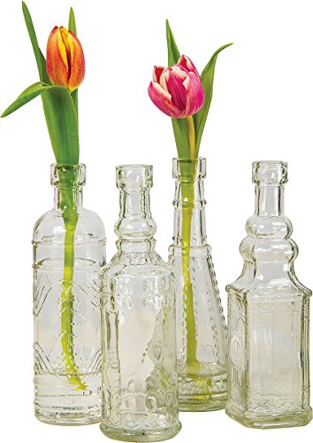 Luna Bazaar Small Vintage Glass Bottle Set (7-Inch, Clear, Set of 4) - Flower Bud Vase Set - For Home Decor, Party Decorations, and Wedding Centerpieces (Set Of Vases For Centerpieces)