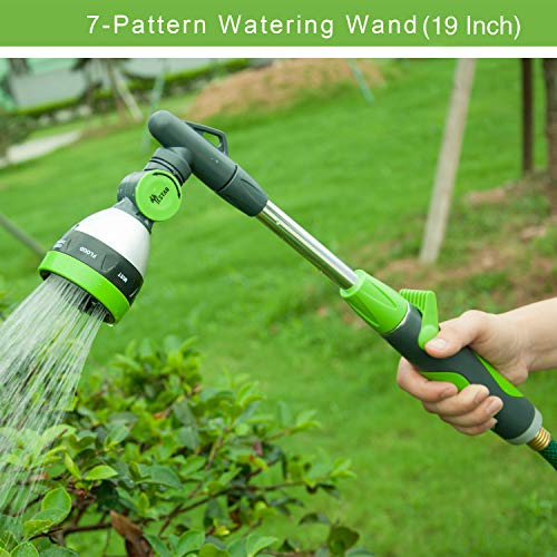 - YeStar 19 Inch Watering Wand, 2-in-1 Garden Lawn Hose Nozzle Spray Wand with 7 Adjustable High Pressure Water Patterns, One Touch Shutoff Valve, Green