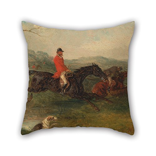 Uloveme 20 X 20 Inches / 50 By 50 Cm Oil Painting William J. Shayer - Foxhunting- Clearing A Brook Pillow Cases ,double Sides Ornament And Gift To Him,seat,valentine,wedding,coffee House,adults