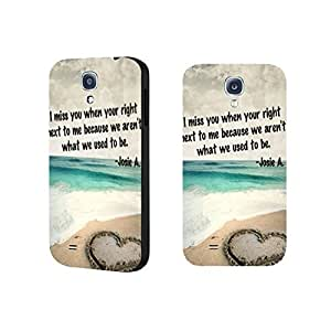 Vogue Quotes Design Ocean Waves Beach Sand Phone Case Pretty Love Heart Print Cover for Samsung Galaxy S4 9500 Screen Protector