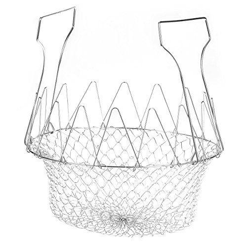 Deep Fry Basket - Stainless Steel Foldable Strainer Basket Colander - Cooking Basket for Frying, Steaming, Straining, Rinsing, 9 x 3.35 x 9 Inches (Pot Round Chefs Rack)