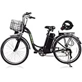 """Nakto 26"""" Electric Bikes for Women Man [1 Year Warranty] 250w City ebike Assisted Bicycle with Removable 36V 10A Large Capacity Lithium Battery Charger and Lock(Black/White)"""