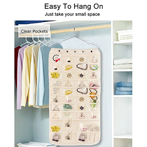 Thipoten Hanging Jewelry Organizer, Non-Woven 40 Pockets and 20 Magic Tape Hooks Accessory Holder (White) by Thipoten (Image #4)