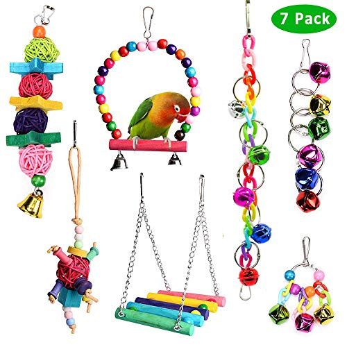 ACEONE Bird Toys Parrot Swing Toy with Colorful Wooden Beads Bells and Pet Bird Cage Hammock Hanging Chew Toys for Small Parakeets Cockatiels, Conures, Macaws, Love Birds, Finches 7Pcs