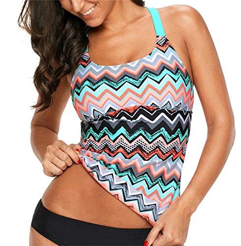 Samefar Womens One Piece Zigzag Print Y Back Tankini Swimsuit Top (Only Top) (Szie S-XXXL)
