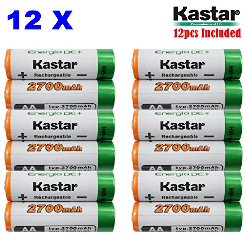 Kastar AA (12-Pack) Ni-MH 2700mAh Super High-Capacity Rechargeable Batteries Pre-charged.
