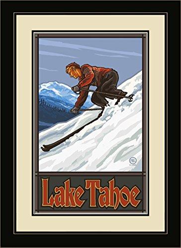northwest-art-mall-pal-0178-mfgdm-dsm-lake-tahoe-downhill-skier-man-framed-wall-art-by-artist-paul-a