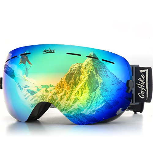 GoHike Ski Goggles-Unisex Snow Goggles with UV Protection and Anti-Scratch , Interchangeable Lens - Best Snowboard Goggles with Easy-Fit Strap Adjustment