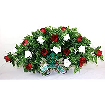 Amazon cemetery grave tombstone saddle headstone silk flower xl red w white roses silk flower cemetery tombstone saddle arrangement mightylinksfo Choice Image
