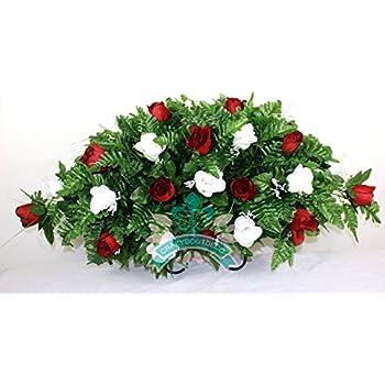 Amazon cemetery grave tombstone saddle headstone silk flower xl red w white roses silk flower cemetery tombstone saddle arrangement mightylinksfo