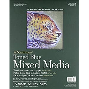 Strathmore 400 Series Toned Blue Mixed Media Pad, 11″x14″ Glue Bound, 15 Sheets per Pad