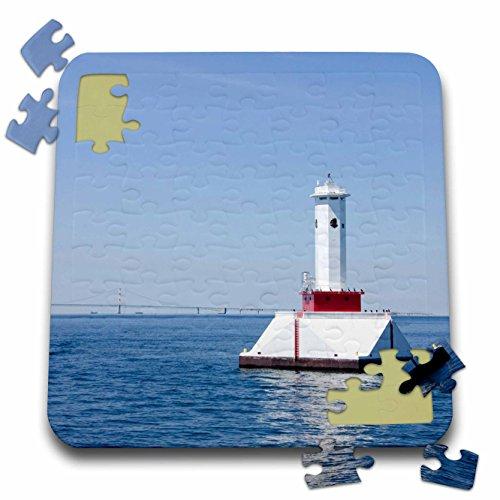 (Danita Delimont - Cindy Hopkins - Lighthouses - USA, Michigan, Mackinac. Round Island Passage Light. - 10x10 Inch Puzzle (pzl_190222_2) )