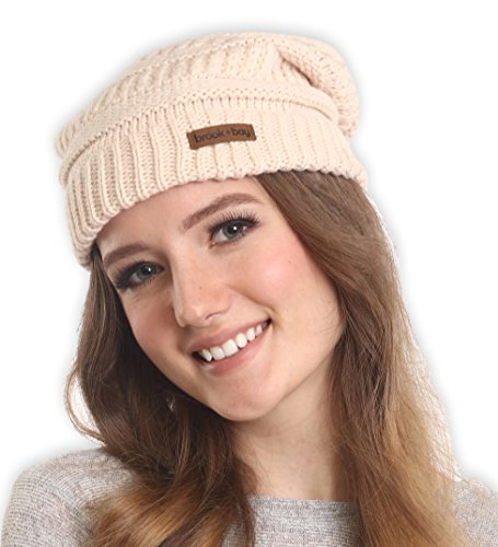 Cable Knit Beanie by Brook + Bay - Stay Warm & Stylish this Winter - Thick, Soft & Chunky Beanie Hats for Women & Men - Serious Beanies for Serious Style