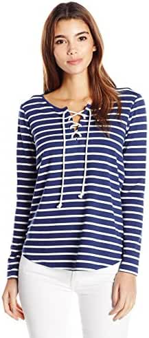 NYDJ Women's Petite French Terry Stripe Lace up Top