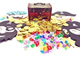 Guaishou Pirate Treasure Chest Toys 325 Pieces Gems and Gold Coins and masks Party Favor Games (100 Coins+220 Gems+4 mask+1 box)