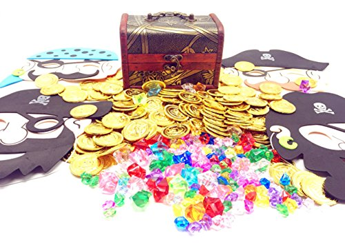 Guaishou Pirate Treasure Chest Toys 325 Pieces Gems and Gold Coins and masks Party Favor Games (100 Coins+220 Gems+4 mask+1 box) -
