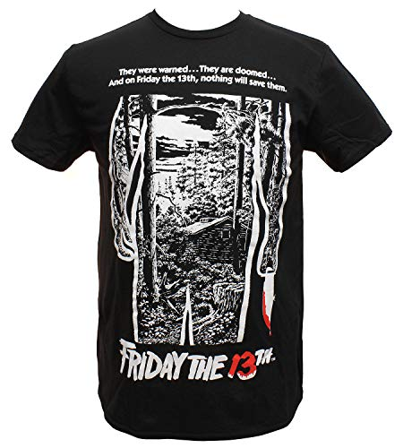 Bioworld Friday The 13th Shirt Men's Movie Poster Graphics Black T-Shirt Tee (Small)