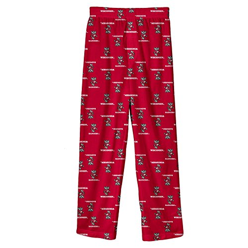 NCAA Wisconsin Badgers Youth Boys 8-20 Team Colorored Printed Pant, University Red, X-Large (18/20) (Youth University)