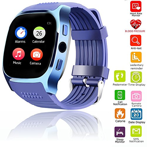 Bluetooth Smart Watch Screen Touch Wrist Smartwatch for Man Women Boys Girls for Android Samsung Huawei LG Motorola HTC IOS iPhone with Heart Rate Monitor Blood Pressure Pedometer Sleep Monitor (Blue)