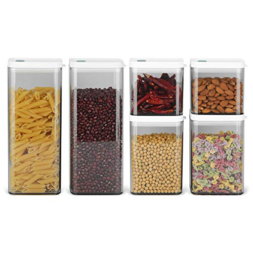 ComSaf Airtight Food Storage Container with Lid(24oz/37oz/64oz) Set of 6, Square Airtight Canisters, BPA Free Clear…