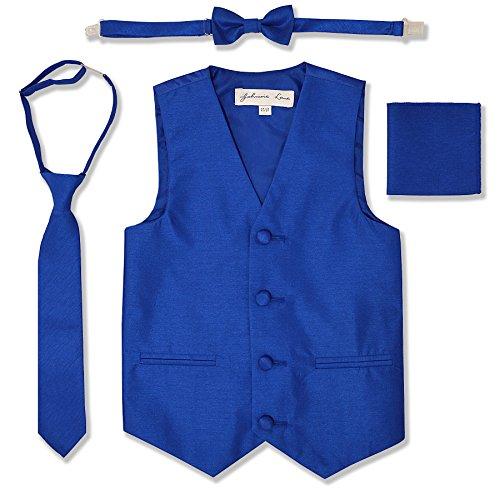 JL34 Boys Formal Tuxedo Vest Set (2T/3T, Royal)