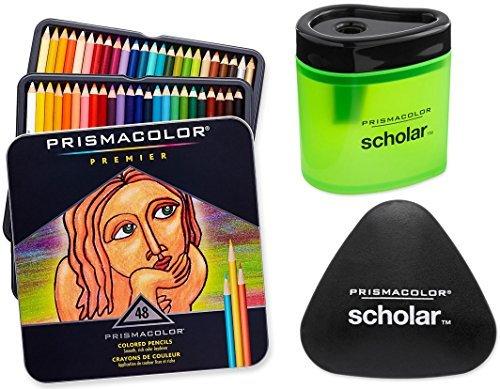 Prismacolor Premier Soft Core Colored Pencil, Set of 48 Assorted Colors + Free Prismacolor Scholar Colored Pencil Sharpener & Free Prismacolor Scholar Eraser, Pencil